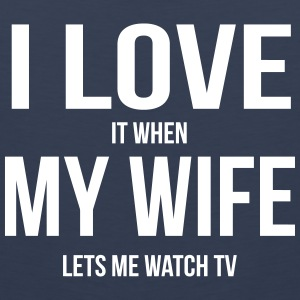 I LOVE MY WIFE (IF SHE LETS ME ALONE TV BOGGLE) Sports wear - Men's Premium Tank Top