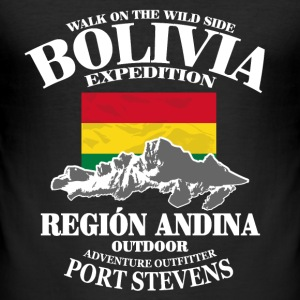 Bolivia - Flag & Mountains T-shirts - Slim Fit T-shirt herr