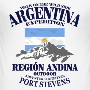 Argentina - Flag & Mountains T-Shirts - Men's Slim Fit T-Shirt