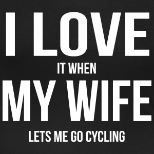 I LOVE MY WIFE (IF SHE LETS ME BICYCLE RIDING) T-Shirts - Women's Scoop Neck T-Shirt