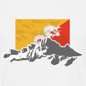 Bhutan - Flag & Mountains T-Shirts - Männer T-Shirt