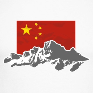 China - Flag & Mountains Langarmshirts - Männer Baseballshirt langarm