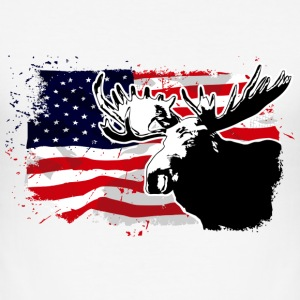 Moose & USA Flag T-Shirts - Männer Slim Fit T-Shirt