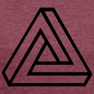 Triangle_v2_outline T-Shirts - Frauen T-Shirt mit gerollten Ärmeln