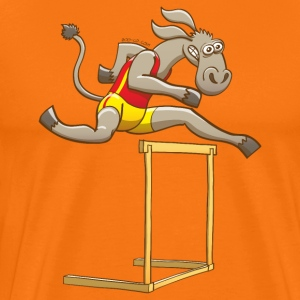 Donkey Running and Jumping in a Hurdling Race T-Shirts - Men's Premium T-Shirt