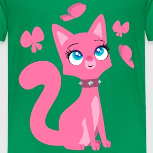 Kittenish Pink Kitty by Cheerful Madness!! Shirts - Kids' Premium T-Shirt