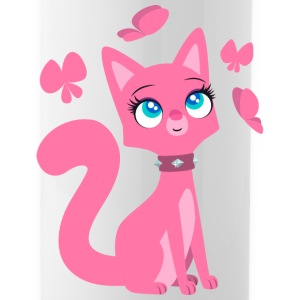 Kittenish Pink Kitty by Cheerful Madness!! Mugs & Drinkware - Water Bottle