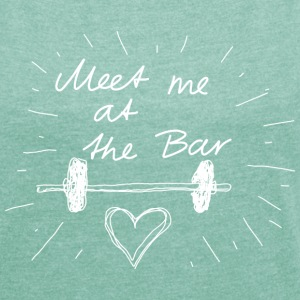 Meet me at the bar white T-shirts - Dame T-shirt med rulleærmer