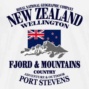 New Zealand - Mountains & Flag Camisetas - Camiseta premium hombre