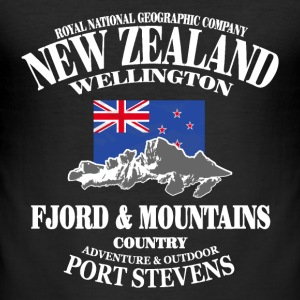 New Zealand - Mountains & Flag T-skjorter - Slim Fit T-skjorte for menn