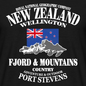 New Zealand - Mountains & Flag Camisetas - Camiseta hombre