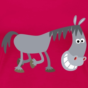 Sniggering Cartoon Horse by Cheerful Madness!! - Women's Premium T-Shirt