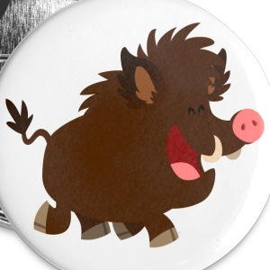 Joyous Cartoon Wild Boar by Cheerful Madness!! Buttons - Buttons small 25 mm