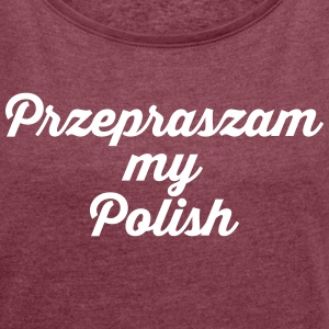 POLAND - Women's T-shirt with rolled up sleeves