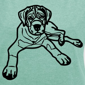 www.dog-power.nl - Frauen T-Shirt mit gerollten Ärmeln