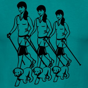 nordic walking women dog T-Shirts - Men's T-Shirt