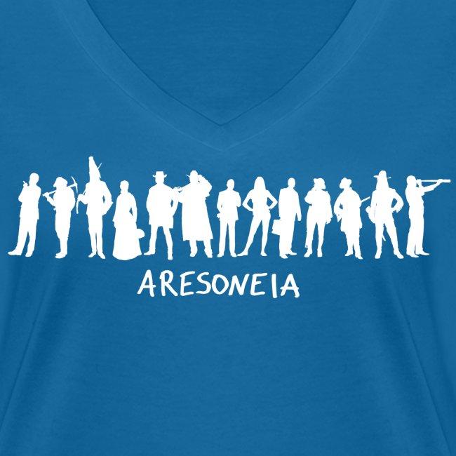Aresoneia-Silhouetten (Weiß) - Damen-Shirt (V-Ausschnitt)