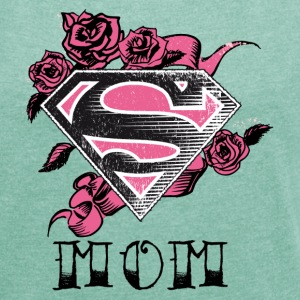 Superman S-Shield Mom Frauen T-Shirt - Frauen T-Shirt mit gerollten Ärmeln