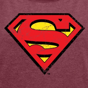 Superman Logo vintage Women T-Shirt - T-skjorte med rulleermer for kvinner