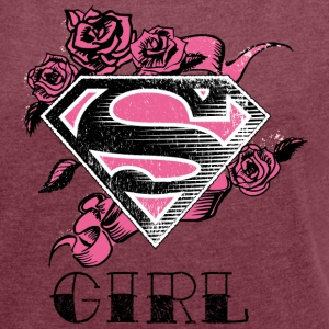 Superman 'S-Shield Girl' Women T-Shirt - T-skjorte med rulleermer for kvinner