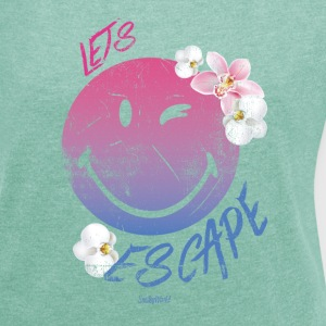 Smiley World Lets Escape Frauen T-Shirt - Frauen T-Shirt mit gerollten Ärmeln