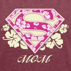 Superman 'S-Shield Mom' Frauen T-Shirt - Frauen T-Shirt mit gerollten Ärmeln