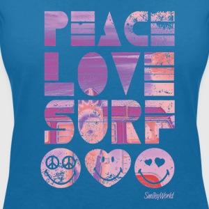 SmileyWorld 'Peace Love Surf' women t-shirt - Maglietta da donna scollo a V