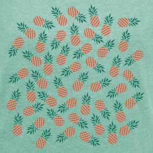 Pineapple Pattern T-Shirts - Women's T-shirt with rolled up sleeves