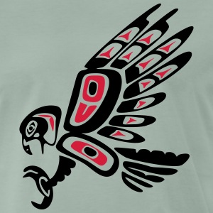 Native american falcon - tribal art symbol, indian T-shirts - Herre premium T-shirt