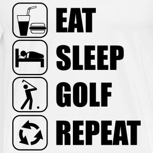 Eat Sleep Golf Repeat Koszulki - Koszulka męska Premium