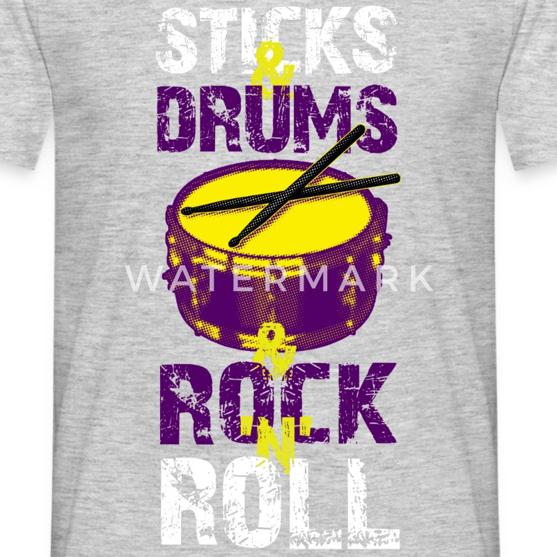 Sticks And Drums And Rock And Roll - White - Men's T-Shirt