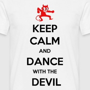 Keep calm and dance with the devil white t-shirt - Mannen T-shirt
