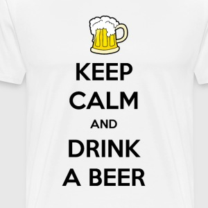 Keep calm and drink beer white men's t-shirt - Mannen Premium T-shirt