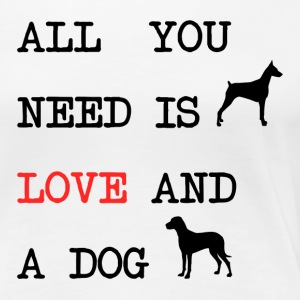All you need is love and a dog men's t-shirt white - Vrouwen Premium T-shirt