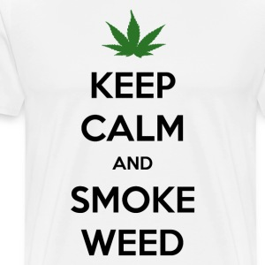 Keep calm and smoke weed men's t-shirt white - Mannen Premium T-shirt