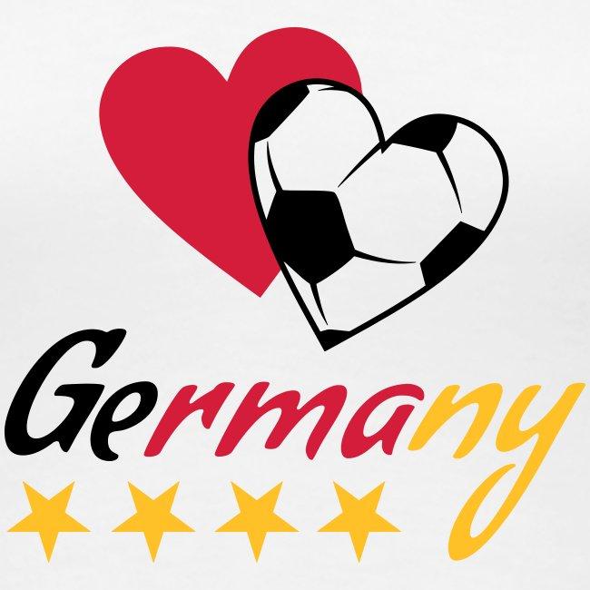 Frauen T-Shirt Fußball Herzen Germany