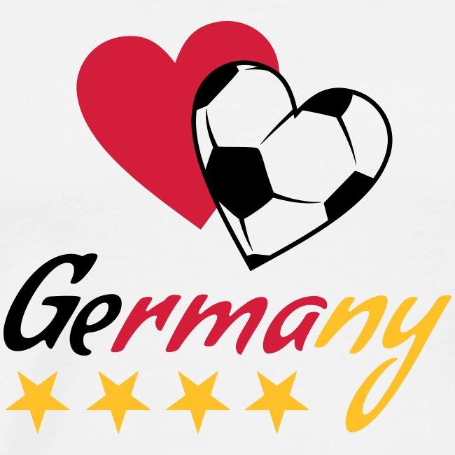 Männer T-Shirt Fußball Herzen Germany
