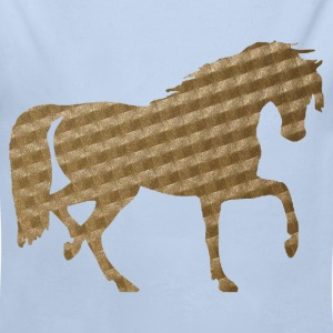 Horse in Brown Squares Baby Bodysuits - Longlseeve Baby Bodysuit