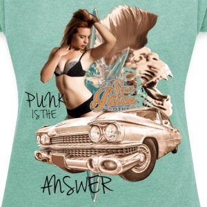 punk is the answer T-Shirts - Frauen T-Shirt mit gerollten Ärmeln