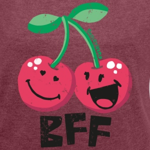 SmileyWorld 'BFF Cherries' women t-shirt - Vrouwen T-shirt met opgerolde mouwen
