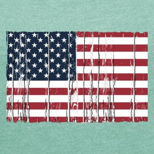 USA flag - wood vintage look T-Shirts - Frauen T-Shirt mit gerollten Ärmeln