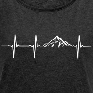 Heartbeat Mountains T-Shirts - Frauen T-Shirt mit gerollten Ärmeln