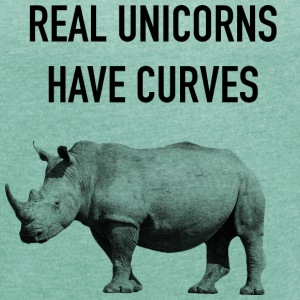 Real Unicorns have Curves! - Women's T-shirt with rolled up sleeves