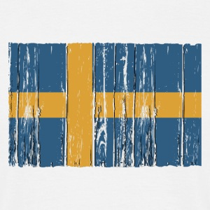 Sweden flag - wood vintage look T-Shirts - Männer T-Shirt