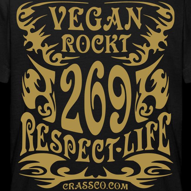 VEGAN RESPECT LIFE (Gold-Glitzer)