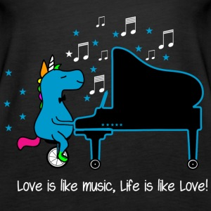 Piano Einhorn - Sprüche Life Love Music Tops - Frauen Premium Tank Top