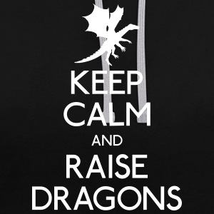 Keep calm dragons Pullover & Hoodies - Kontrast-Hoodie