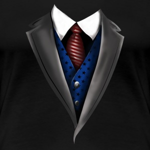 Tuxedo Tie Designs blue vest T-Shirts - Frauen Premium T-Shirt