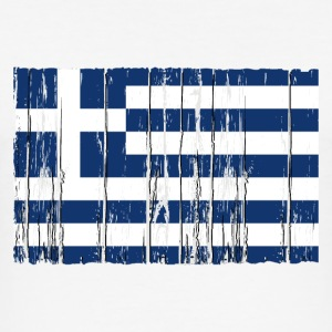 Greece flag - wood vintage look T-Shirts - Männer Slim Fit T-Shirt