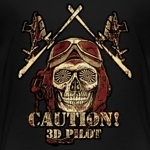 3D-Heli Modellflieger Caution-3D - RAHMENLOS RC Car Flugzeug Hobby Design T-Shirts - Teenager Premium T-Shirt